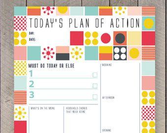 Printable Day Planner Family Organiser Mid Century ...