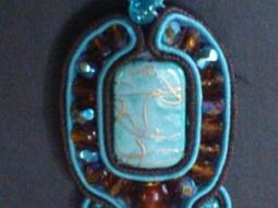 pendentif soutache turquoise et brun • Hellocoton.fr