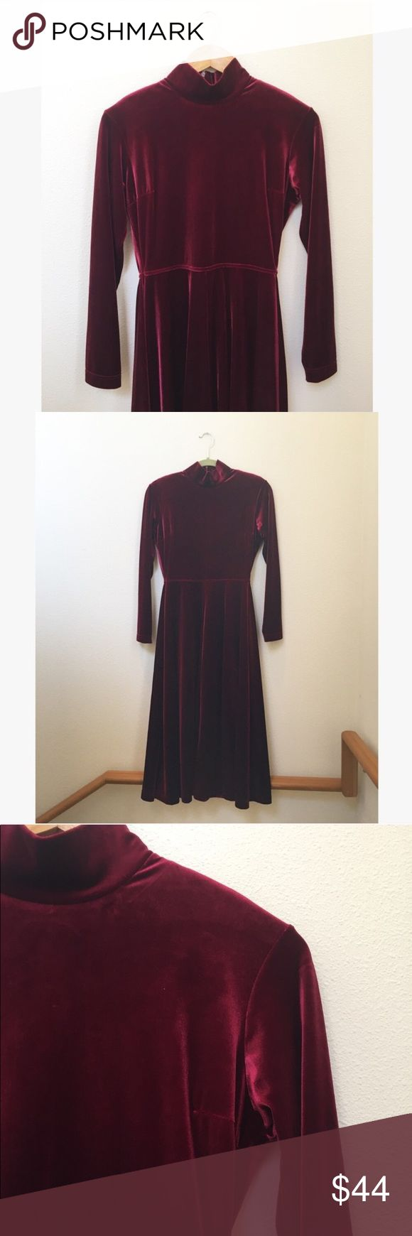 """Vintage Velvet Midi Mock Turtleneck Dress Vintage Red Velvet Midi Mock Turtleneck Dress by Talbots. Deep Bordeaux wine red with super soft and stretchy polyester/spandex blend. Stunning midi silhouette with fit and flare waist. Long sleeves and zip back with shoulder pads, easily removable, happy to snip them on request. Excellent vintage condition. Perfect for a party or Valentine's. Vintage size petite, fits like a Size S, please refer to approximate measurements:  46"""" long, 18"""" pit to…"""
