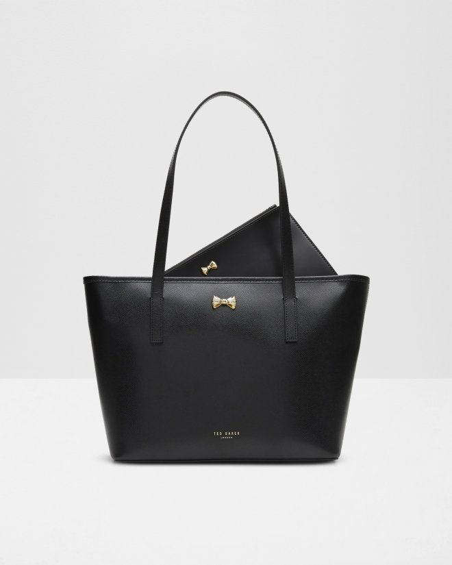 Micro bow small leather shopper bag - Black | Bags | Ted Baker UK