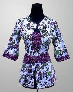 Baju Batik Wanita Trendi Motif Bunga Warna Ungu Kode KM 144 SMS ke 082134923704