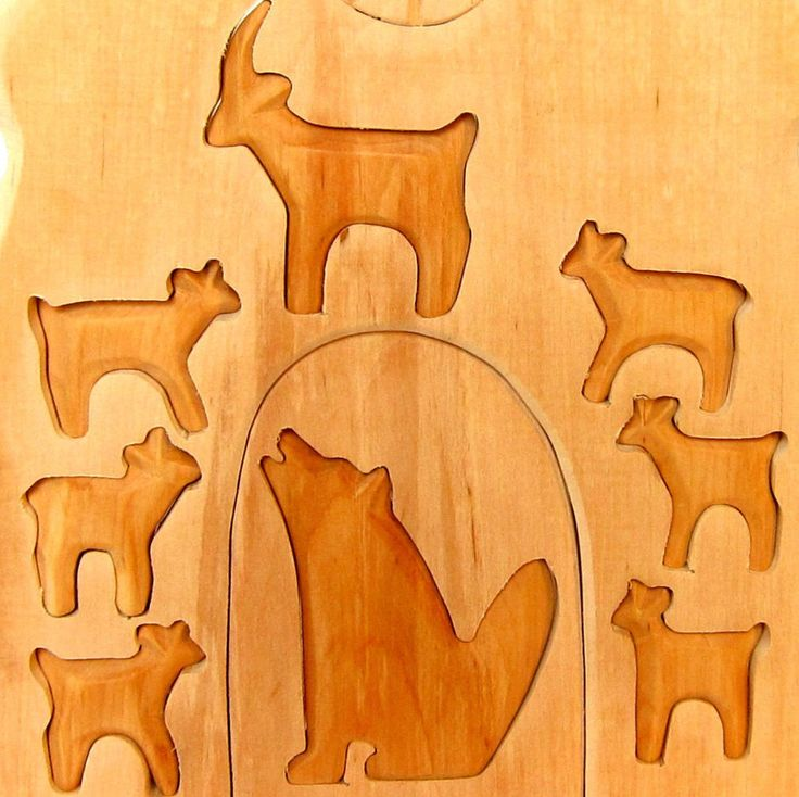 The wolf and the Seven Young Kids, The wolf and the seven young goats, Seven little goats, wooden puzzle, Wooden Waldorf Toys, Grimms Tales by Baumstammbuch on Etsy https://www.etsy.com/uk/listing/453109094/the-wolf-and-the-seven-young-kids-the