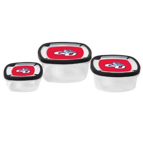 NCAA Gonzaga Bulldogs Nesting Square Container, 3-Piece, Clear by Boelter. $16.99. plastic. Secure snap lids. Set of three plastic storage containers. Officially Licensed. Pack your leftovers or your lunch in Boelter Brands Square Plastic Storage Containers. Set of 3 square nesting containers feature large team graphic on lids. Large container holds 7.2 cups; medium holds 3.5 cups, and small holds 2.1 cups. Secure snap lids keep food from spilling. Officially lic...
