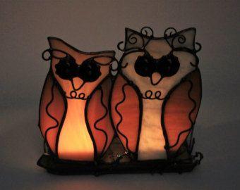 Votief kaars Stand, Tiffany glas, gekleurd glas Owl, glazen kandelaar houder, iriserende glas, Decor van het huis, kandelaar patroon,