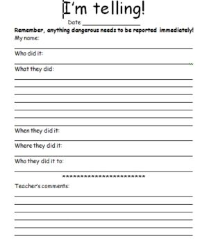 Great classroom management resource to use for those students who had issues during the school day. It allows students to give a written account of...