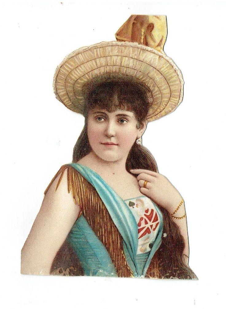 Un chromo - Découpis  - Femme au chapeau - 16 cm fr.picclick.com