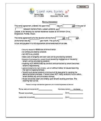 Printable Sample Rental Agreement Template Form