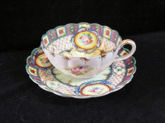 Antique hand-painted Nippon cup and saucer, GORGEOUS, 1800's.