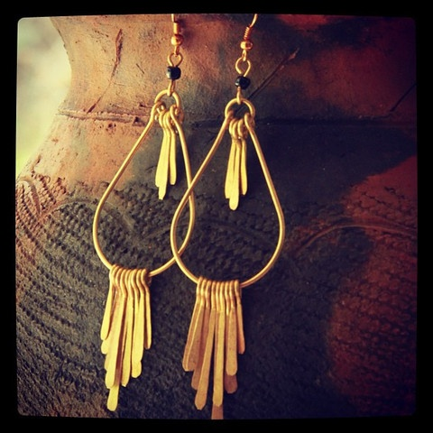 Gold Big Tail Feather Earrings
