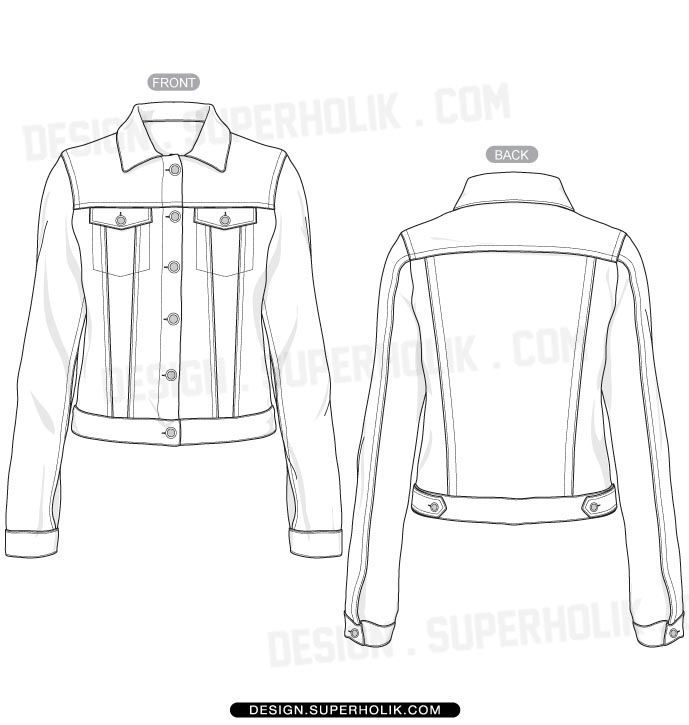 nice Denim jacket template - fashion design Vector body form sketch Fashion designers