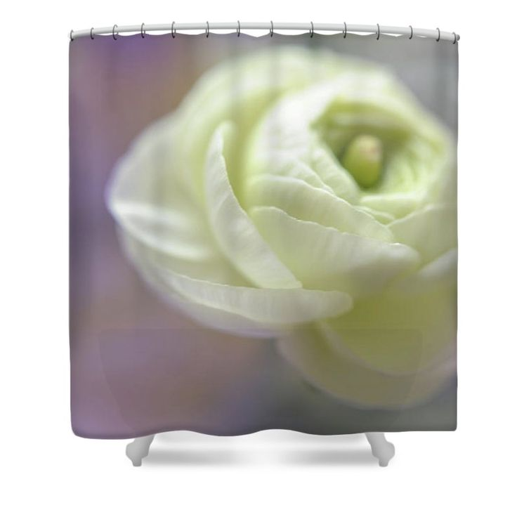 """White Ranunculus Bud Shower Curtain by Jenny Rainbow.  This shower curtain is made from 100% polyester fabric and includes 12 holes at the top of the curtain for simple hanging.  The total dimensions of the shower curtain are 71"""" wide x 74"""" tall."""