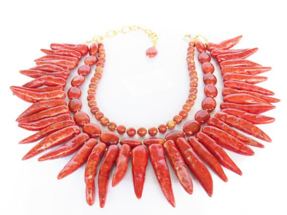 SALE - WAS 149 - One of a Kind Red Coral Statement Necklace - Red Necklace- Red Bridal Holiday Jewelry - Blood Orange