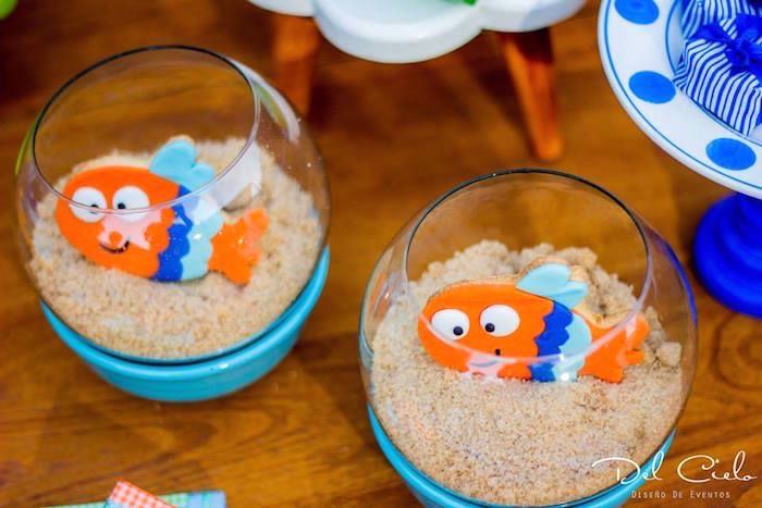 Fish cookies in fish bowls from a Baby Sea Animal Birthday Party on Kara's Party Ideas | KarasPartyIdeas.com (13)