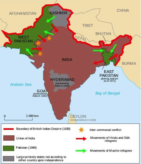 When the British granted India independence they created the nations of Pakistan and India to accommodate for the religious differences (Pakistan - predominantly Muslim, India - predominantly Hindu). However, the British did not do this effectively because conflict developed on the West Pakistan/India border and in Kashmir.