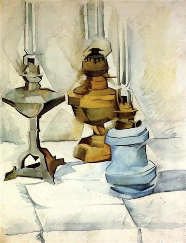 Three Lamps - Juan Gris, oil on canvas, 1911