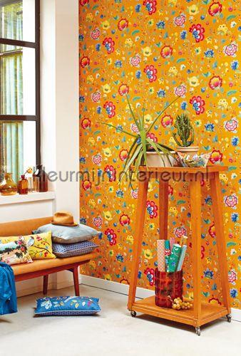 PiP Floral Fantasy Geel fotobehang 341037, PiP Wallpaper III van Eijffinger