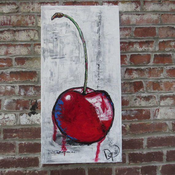 Originale peint au couteau par medarts empatement nature - Peinture rouge cerise ...