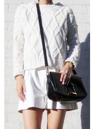 Cable Crop Sweater  US$43.46 Free shipping worldwide  #fashion #jumper #knitwear #instagram