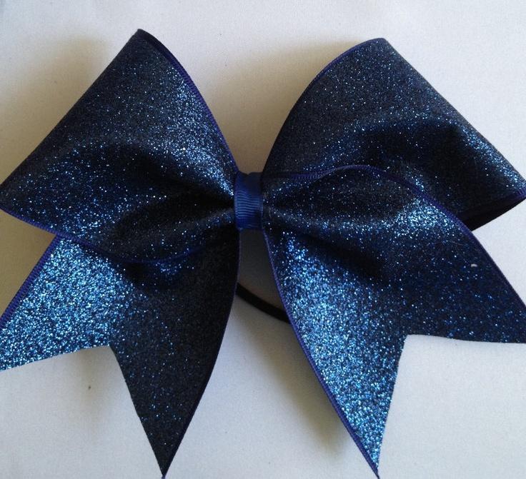 sapphire blue glitter cheer bow