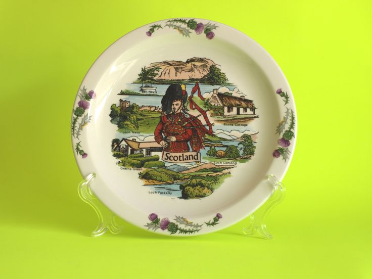 Vintage Churchill Scotland Souvenir Dish or Plate - Scottish Glenkinchie Country Porcelain Wall Hanging - Hand Painted & Made in Scotland by FunkyKoala on Etsy