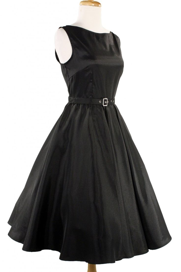 Hey Viv 50s Retro Pin Up Dresses – Black Satin Party Dress