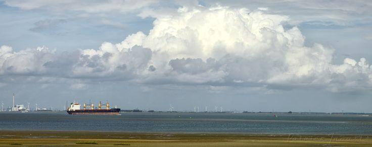 """Panorama """"de Overkant"""" Zicht op het schiereiland Zuid-Beveland, de overkant, aan de Westerschelde met windmolens, scheepvaart en de kerncentrale Deze foto is genomen vanaf het strand bij laag water, aan de Thomaesgeul voor de dijk van de Paulinapolder, Zeeuws-Vlaanderen."""