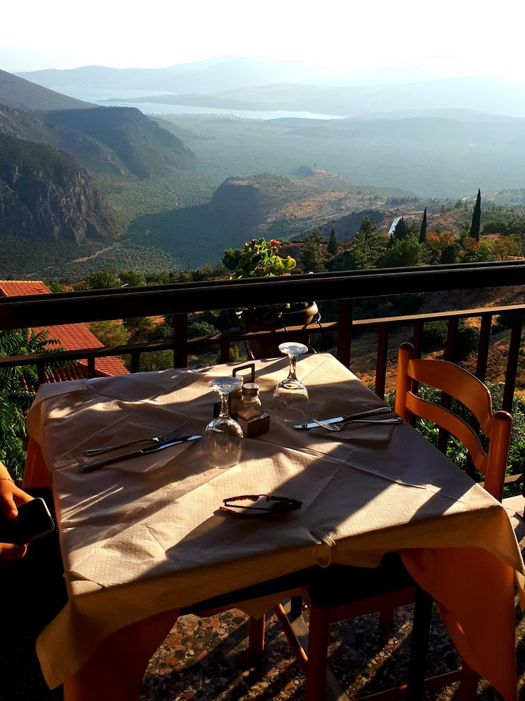 View From A Restaurant In Delphi Greece Farmhouse Style Living Room Cozy Workspace Space Design