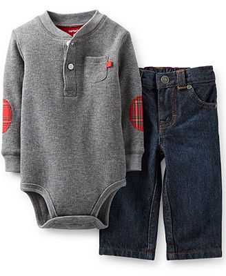 Carter's Boys 2 Piece Grey Thermal Long Sleeve Henley Bodysuit with Plaid
