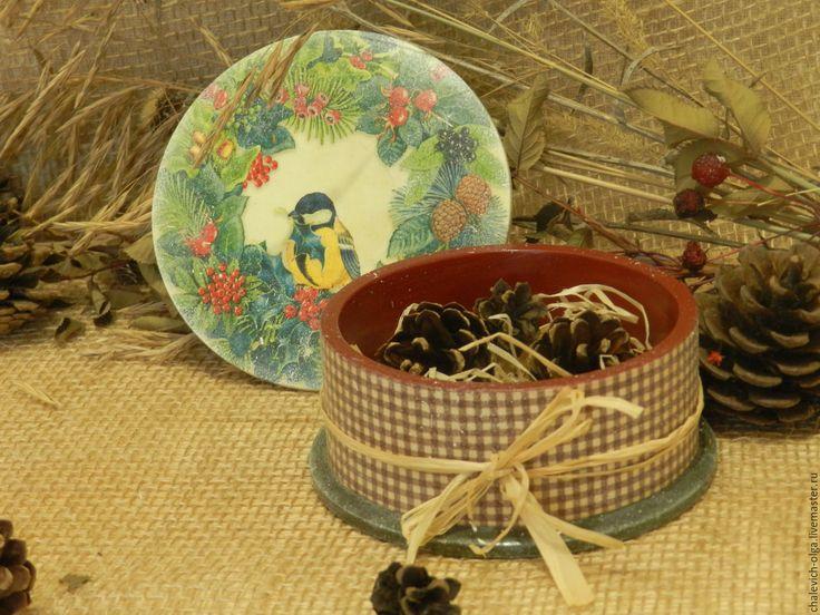 """Купить Шкатулка """"Невеличка"""" - коричневый, новогодние подарки, милая вещица, птичка, зимний подарок"""