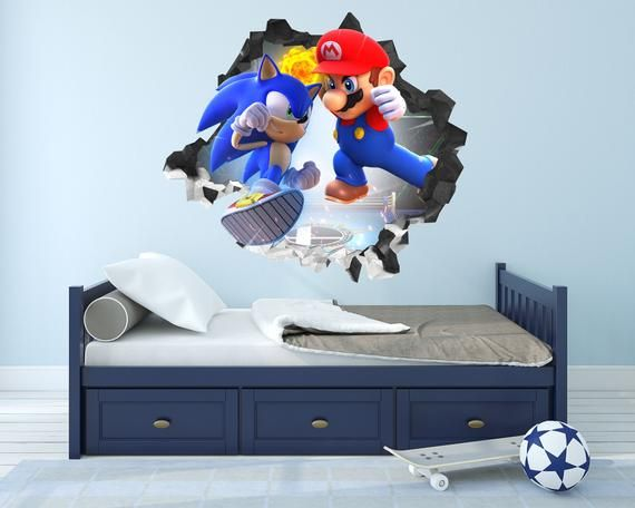 Mario and Sonic Game Hole in the Wall 3D Effect Wall Sticker Wall Decals