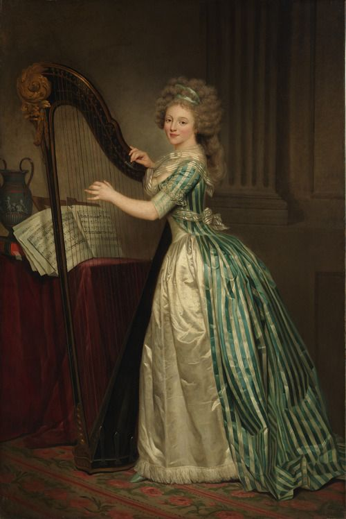 I love this gown! Fashion at the time of Spring Fires:Self-portrait with a Harp by Rose-Adélaïde Ducreux    circa 1791