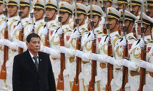 Philippines President Rodrigo Duterte during his visit to China where he said it