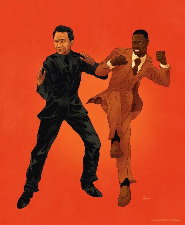 """A série de ilustrações """"Famous Buddies"""", de Dave Collinson, presta homenagem aos famosos duos da cultura Pop. De Breaking Bad para Pulp Fiction, até Jackie Chan e Chris Tucker em A Hora do Rush, nenhuma dupla fica de fora.   via"""