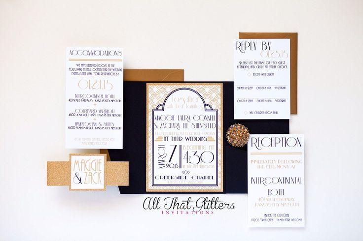 Art Deco Wedding Invites | 1920's Wedding Invitations with Glitter | Vintage Wedding Invitation Suite | Roaring 20's Wedding Invitation set