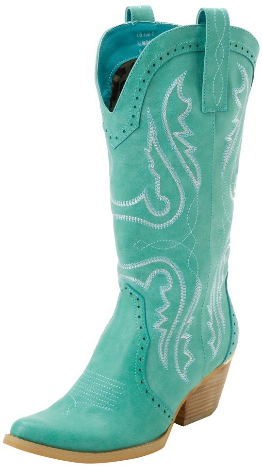 aqua blue high heeled cowboy boots for women