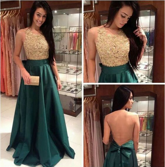 2015 Appliques and Satin Prom Dresses, Floor-Length Prom Dresses, Sexy Prom Dresses, A-Line Prom Dresses, Charming Backless Evening Dresses,