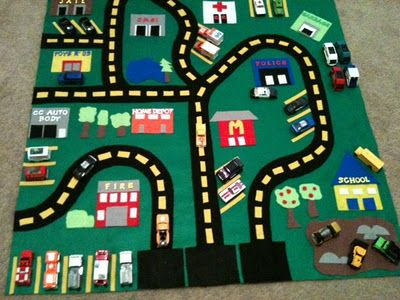Diy Felt Car Play Mat Transportation Felt Crafts And