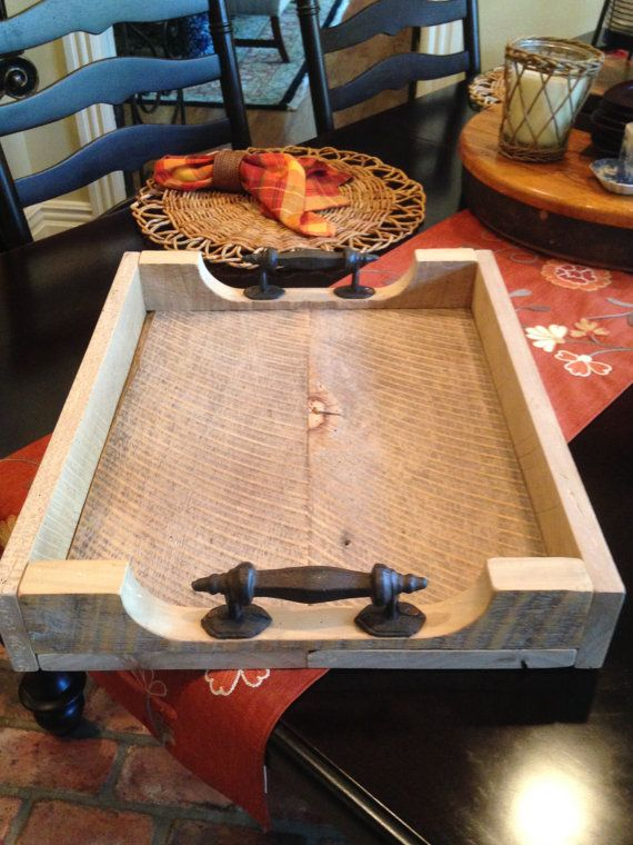 Rustic Reclaimed Oak Barn Wood Serving Tray With Metal Handles Ottoman tray