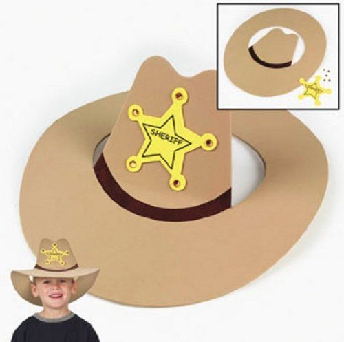 This make your own cowboy hat is an easy craft for kids to do at your Sheriff Callie themed birthday party. If you want  to add some bling. purchase peel and stick yellow and pink rhinestones for extra pizzazz.