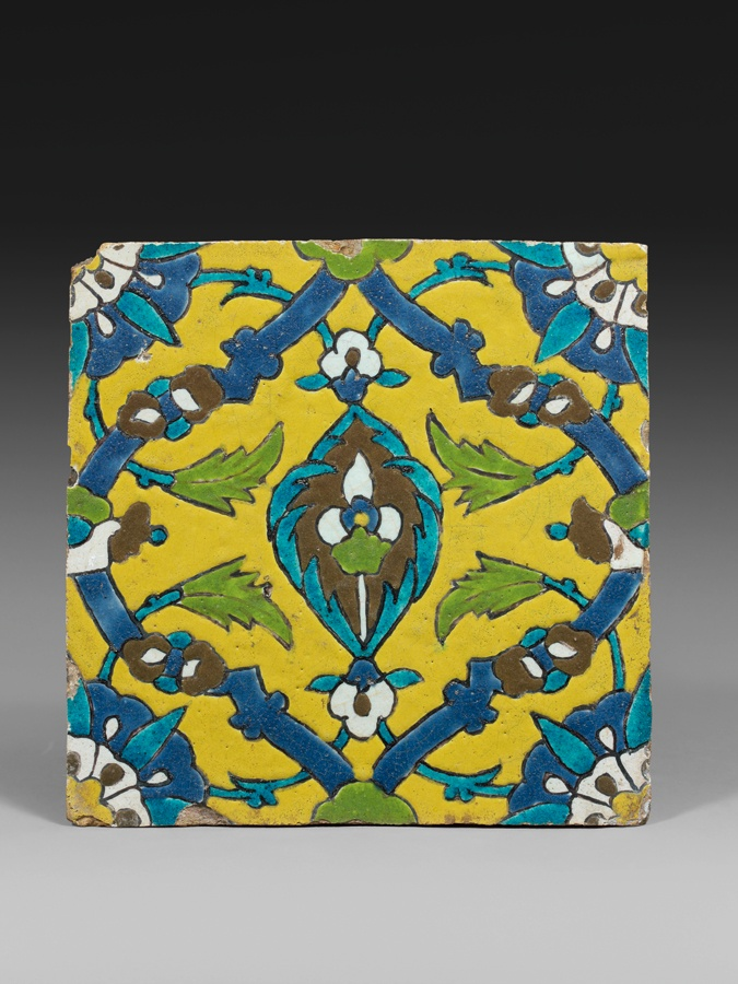 Safavid tile  ceramic decorated in the cuerda seca technique, Iran, XVIIth century, Safavid Dynasty