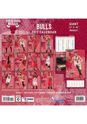 Hang your Bulls spirit on the wall of your office and show it off year-round with this Chicago Bulls 12x12 Team Wall Calendar. This Calendar features a 12 month calendar that has a full-color action photo and short bio of a player for each month of the year.