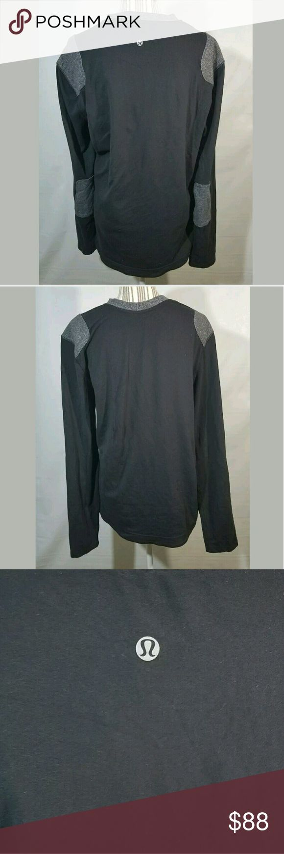 Lululemon Shirt Men's XL Long Sleeve Elbow Patches Lululemon Shirt Men's XL Long Sleeve Elbow Patches Black Gray--- Excellent used condition.   23.5 inches pit to pit.  30 inches long.   AB lululemon athletica Shirts Tees - Long Sleeve
