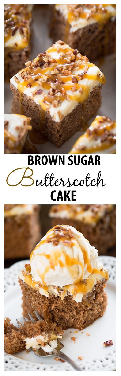 Brown Sugar Butterscotch Sheet Cake topped with brown sugar frosting ...