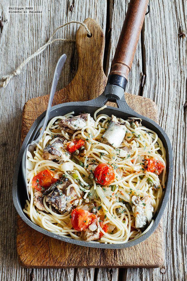 Receta de espagueti salteado con sardinas. Receta con fotografías del paso a paso y recomendaciones de degustación. Recetas de pastas fáciles...
