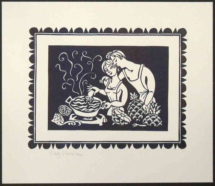 Linocut, cooking together