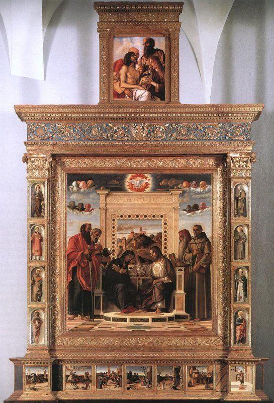 Giovanni Bellini (1430 -1516) was een kunstschilder uit de Italiaanse renaissance die wordt beschouwd als de voorloper van het Venetiaanse School. Zijn werk markeert de definitieve breuk met de gotische stijl. De landschappelijke achtergronden in de werken na 1475 zijn van een zodanige kwaliteit dat Bellini wel de belangrijkste landschapsschilder van de vroege renaissance wordt genoemd.  Pale di Pesau, 1471-1474