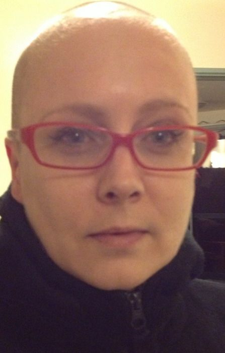 Our communitca Manager, Camilla, after we shaved her head for charity. We raised thousands for sufferers of Leukemia and Blood Cancer!