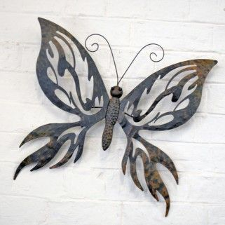 Attirant Decorative Large Metal Butterfly Garden Wall Art Black / Brown Finish £29.99