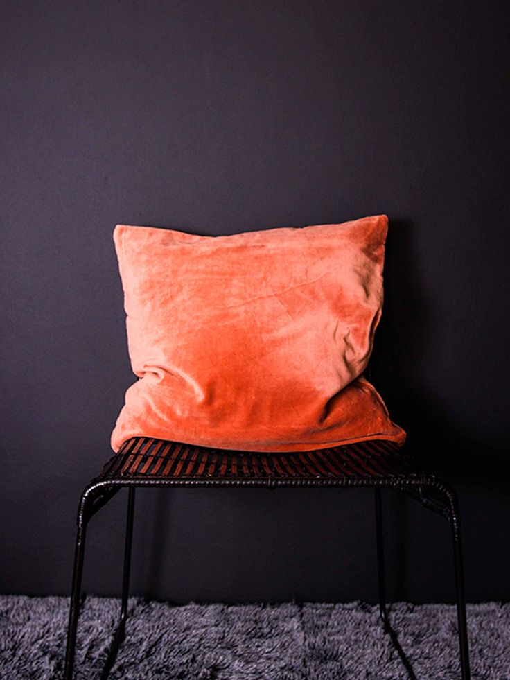 Cushion burnt orange velvet dust color pinterest for Burnt orange chaise lounge