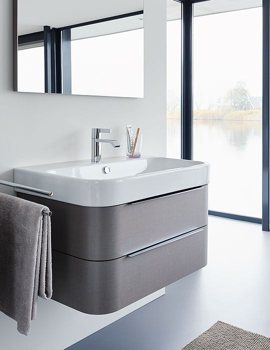 duravit happy d2 975mm white wall mounted vanity unit with basin